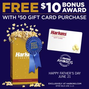Image of Harkins Theatres Father's Day Gift Card Promo