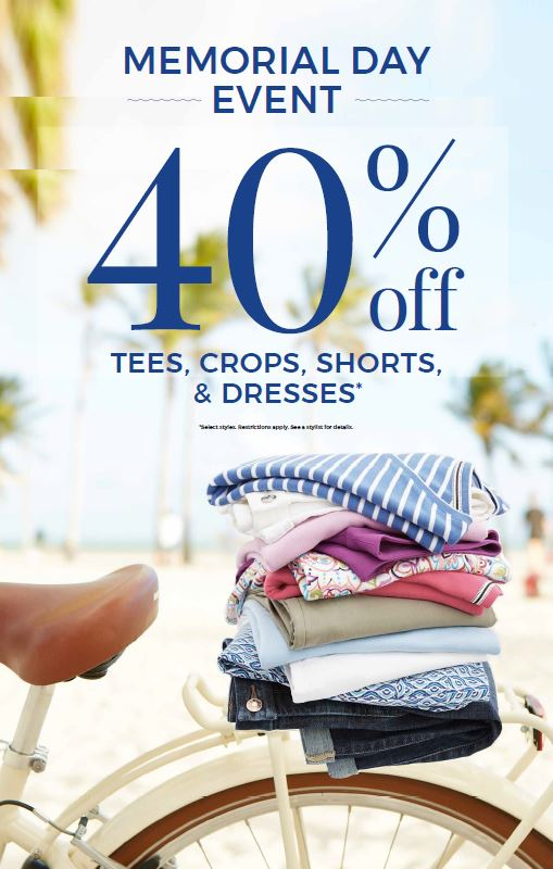 40% off Tees, Crops, Shorts & Dresses* at Chico's