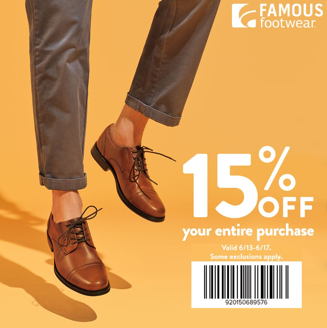 15% off purchase at Famous Footwear